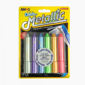 Amos - Amos Metallic 6'lı Metalik-Pastel-Mum Boya Seti 0482