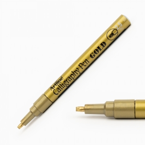 Artline - Artline Calligraphy Pen 2.5 mm Kesik Uç Kaligrafi Kalemi Metalik Altın 3022