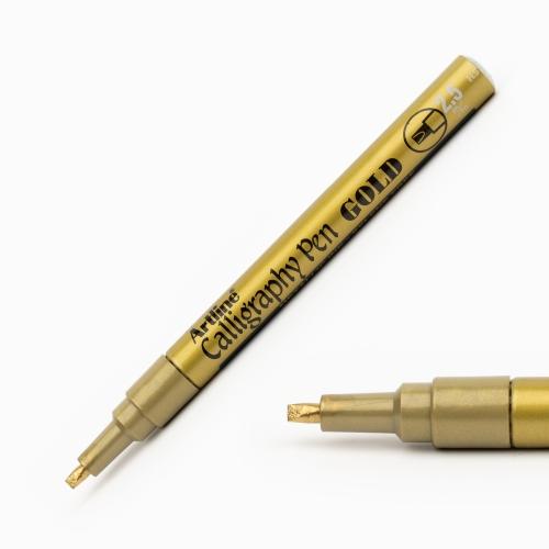 Artline Calligraphy Pen 2.5 mm Kesik Uç Kaligrafi Kalemi Metalik Altın 3022