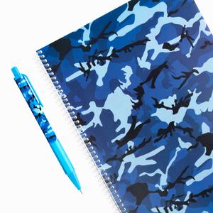 H&S - Camouflage A4 Kareli Okul Defteri + 0.7mm Mekanik Kurşun Kalem Mavi