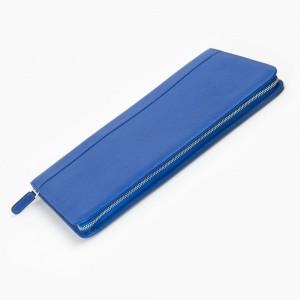 Carens - Carens Deri Kalem Çantası 40'lı Metalik Mavi