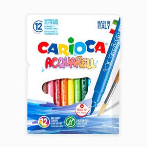 Carioca - Carioca Acquarell 12'li Fırça Uçlu Keçeli Boya Kalemi 7474