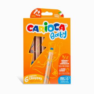 Carioca - Carioca Baby 6'lı Jumbo Ahşap Gövdeli Boya Kalemi Seti 8174