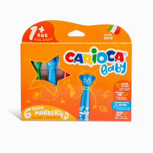 Carioca - Carioca Baby Teddy 6′lı Yıkanabilir Keçeli Boya Kalemi Seti 8150