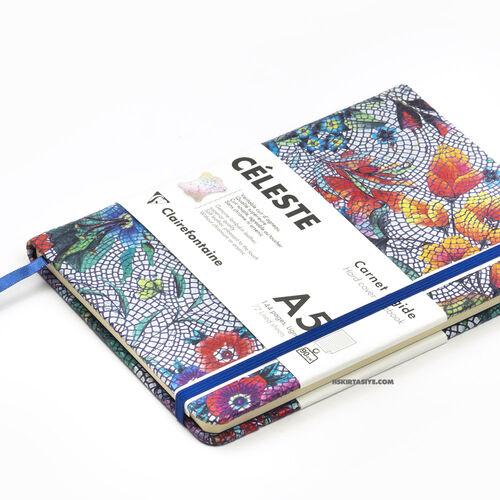 Clairefontaine CELESTE Deri Sert Kapak A5 Çizgili Defter Multicolored Flowers 400124C 1248
