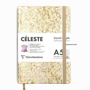 Clairefontaine CELESTE Deri Yumuşak Kapak A5 Çizgili Defter Gold 400107C 1071 - Thumbnail