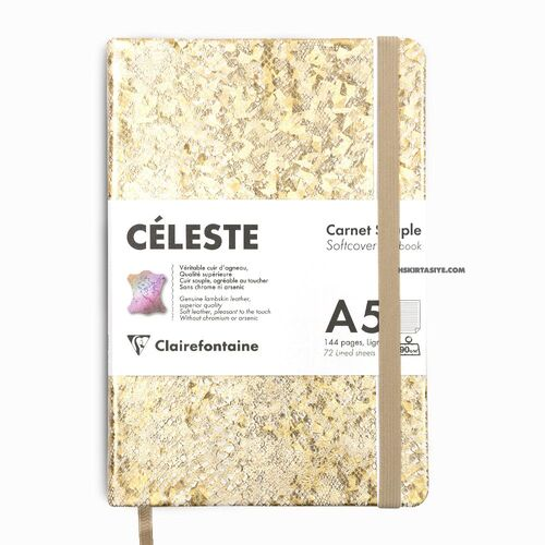 Clairefontaine CELESTE Deri Yumuşak Kapak A5 Çizgili Defter Gold 400107C 1071