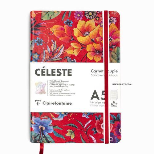 Clairefontaine CELESTE Deri Yumuşak Kapak A5 Çizgili Defter Red Garden 400121C 1217