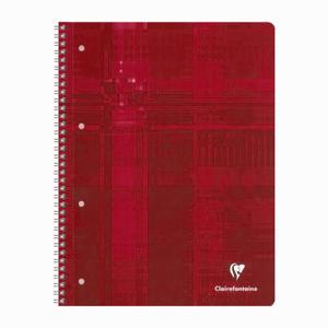 Clairefontaine - Clairefontaine Collegeblock A4 Spiralli Perforeli 160 Sayfa Kareli 4 Renk Seperatörlü Defter Kırmızı 7903