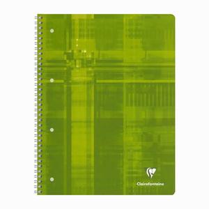 Clairefontaine - Clairefontaine Collegeblock A4 Spiralli Perforeli 160 Sayfa Kareli 4 Renk Seperatörlü Defter Yeşil 7903