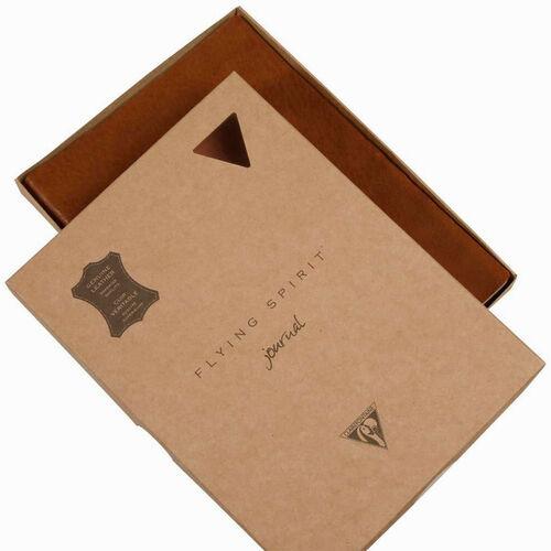Clairefontaine Flying Spirit Journal A5 Deri Kapak Çizgili Defter Cognac Brown 106946C 9463