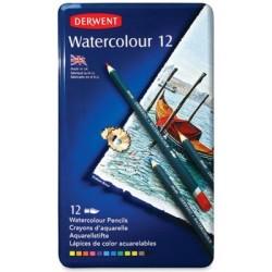 Derwent - Derwent Watercolour Pencil 12'li Teneke Kutu