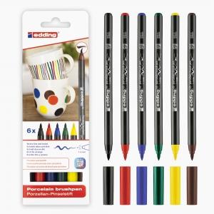 Edding - Edding 4200 6'lı Porselen Kalem Seti Ana Renkler 8149