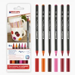 Edding - Edding 4200 6'lı Porselen Kalem Seti Sıcak Renkler 8156