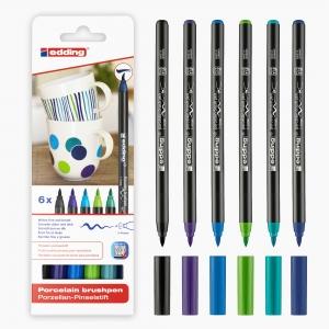 Edding - Edding 4200 6'lı Porselen Kalem Seti Soğuk Renkler 0699