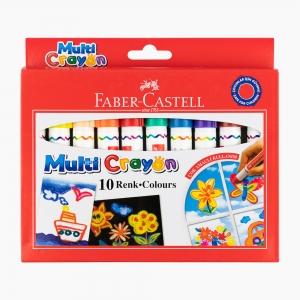 Faber Castell - Faber Castell 10 Renk Multi Crayon Pastel Boya Seti 112010 2036