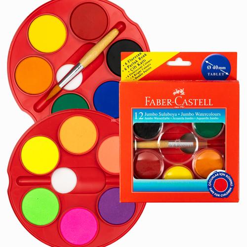 Faber Castell 12'li 40mm Jumbo Sulu Boya Seti (6 Neon, 6 Parlak Renk, Çift Katlı) Fırça Hediyeli 5494