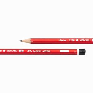 Faber Castell - Faber Castell 2160 HB Mercanlı Köşeli Ahşap Kurşun Kalem Kırmızı 6000 (1)