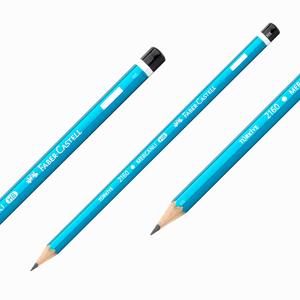 Faber Castell - Faber Castell 2160 HB Mercanlı Köşeli Ahşap Kurşun Kalem Mavi 6000