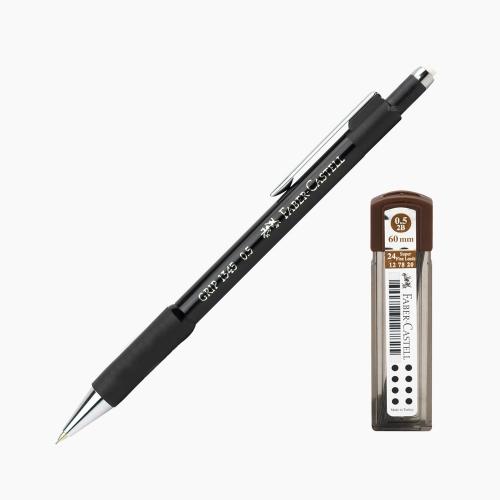 Faber-Castell Grip 1345 0.5 mm Mekanik Kurşun Kalem Siyah (Uç Hediyeli) 4502