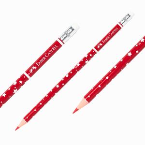 Faber Castell - Faber Castell Silgili Kırmızı Başlık Kalemi Yıldızlı 1303