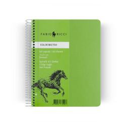 Fabio Ricci - Fabio Ricci Color Sketch A5 Spiralli Perforeli Yeşil Sayfalı Defter