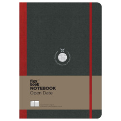 Flex Book - Flexbook Notebook Open Date Large Çizgili Defter Kırmızı 1709