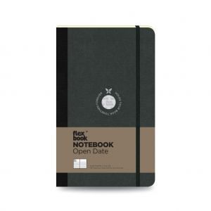 Flex Book - Flex Book Notebook Open Date Medium Çizgili Defter Siyah 1716