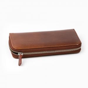 Galen Leather - Galen Leather 3'lü Deri Dolma Kalem Çantası Chocolate Brown