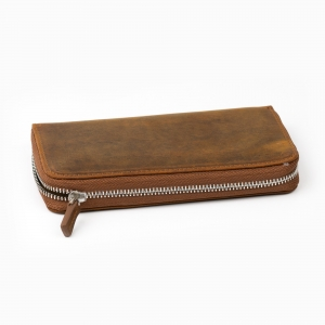 Galen Leather - Galen Leather 3'lü Deri Dolma Kalem Çantası Crazy Horse Brown