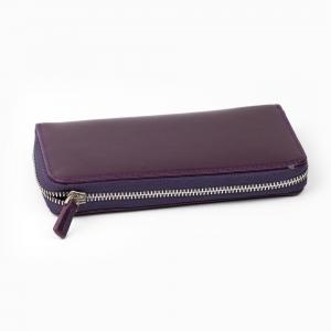 Galen Leather - Galen Leather 3'lü Deri Dolma Kalem Çantası Purple