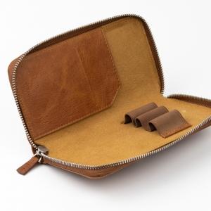 Galen Leather 3'lü Deri Dolma Kalem Çantası Rustic Brown - Thumbnail
