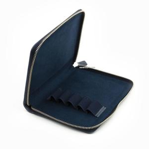 Galen Leather - Galen Leather 5'li Deri Kalem Çantası Crazy Horse Navy Blue (1)