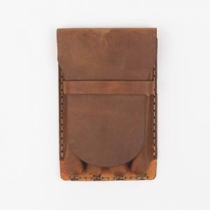 Galen Leather - Galen Leather Major 4'lü Deri Dolma Kalem Çantası Desenli Kahve