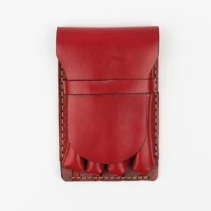 Galen Leather - Galen Leather Major 4'lü Deri Dolma Kalem Çantası Kırmızı