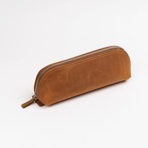 Galen Leather - Galen Leather XLarge Deri Kalem Çantası Desenli Kahve