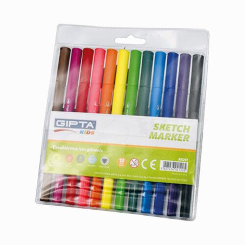 GIPTA Sketch Marker 12 Renk Çift Uçlu Brush/Fineliner Set