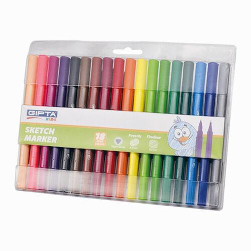 GIPTA Sketch Marker 18 Renk Çift Uçlu Brush/Fineliner Set