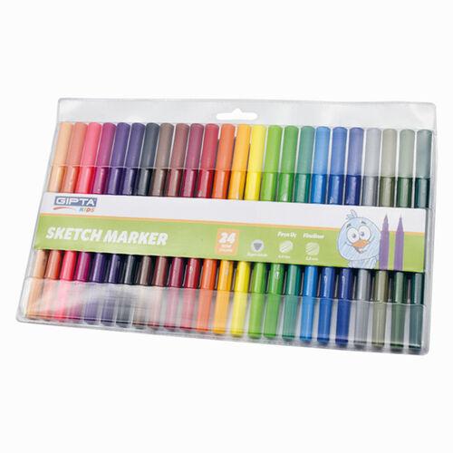 GIPTA Sketch Marker 24 Renk Çift Uçlu Brush/Fineliner Set