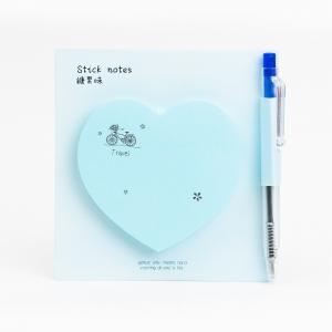 H&S - Happy Heart Yapışkanlı Not Kağıdı / Mini Tükenmez Kalem Açık Mavi