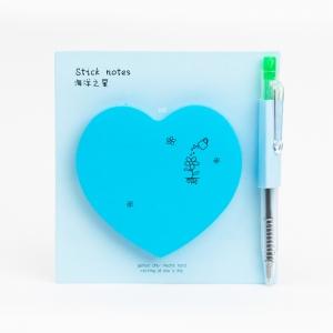 H&S - Happy Heart Yapışkanlı Not Kağıdı / Mini Tükenmez Kalem Mavi