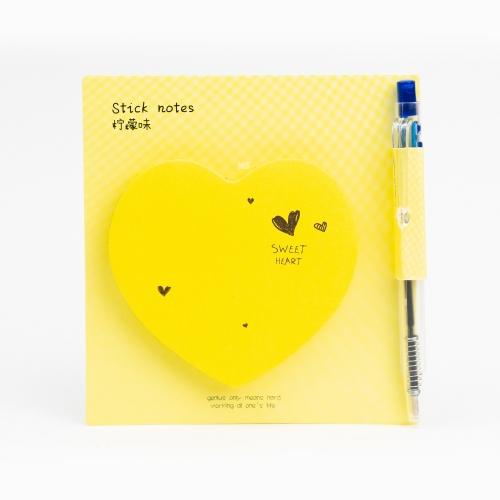 Happy Heart Yapışkanlı Not Kağıdı / Mini Tükenmez Kalem Sarı