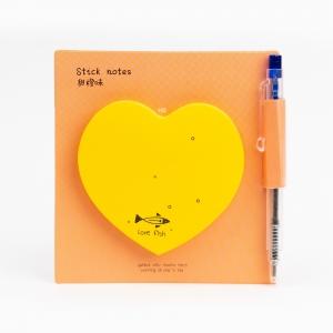 H&S - Happy Heart Yapışkanlı Not Kağıdı / Mini Tükenmez Kalem Turuncu