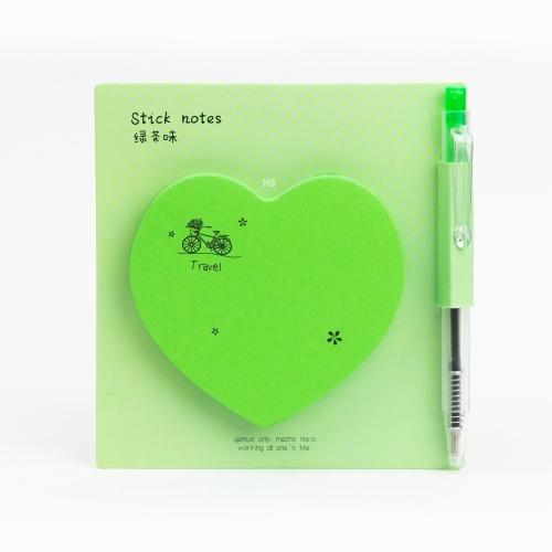 Happy Heart Yapışkanlı Not Kağıdı / Mini Tükenmez Kalem Yeşil