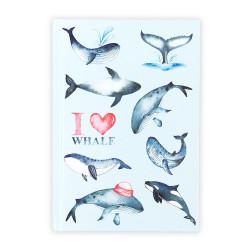 Deffter - I Love Whale Çizgili Defter
