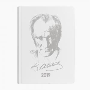 Keskin Color - Keskin Color 2019 Atatürk Haftalık Ajanda Beyaz 830205-99 4157