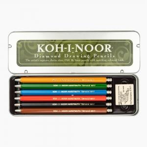 Kohinoor - Koh-i-noor 6'lı Metal Kutulu 2mm Çizim Kalem Seti 5217 7857