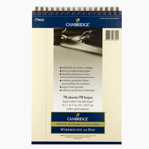 Mead Cambridge A4 Çizgili Telli Perforeli Ivory Note Pad 3924