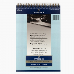 Mead - Mead Cambridge A4 Kareli Telli Perforeli Mavi Note Pad 7297