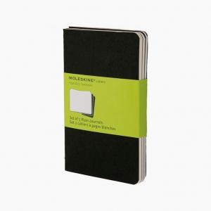 Moleskine - Moleskine Cahiers 3'lü Small Çizgisiz Defter Siyah 4918